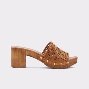 ALDO Deliodien Leather Wood Heel Mules 8.5 NWT